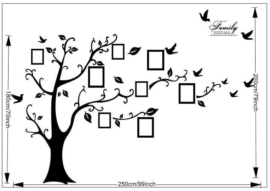 Strom s rámečky 10x15 na fotografie 180x250 cm